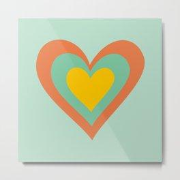 Three hearts on turquoise Metal Print