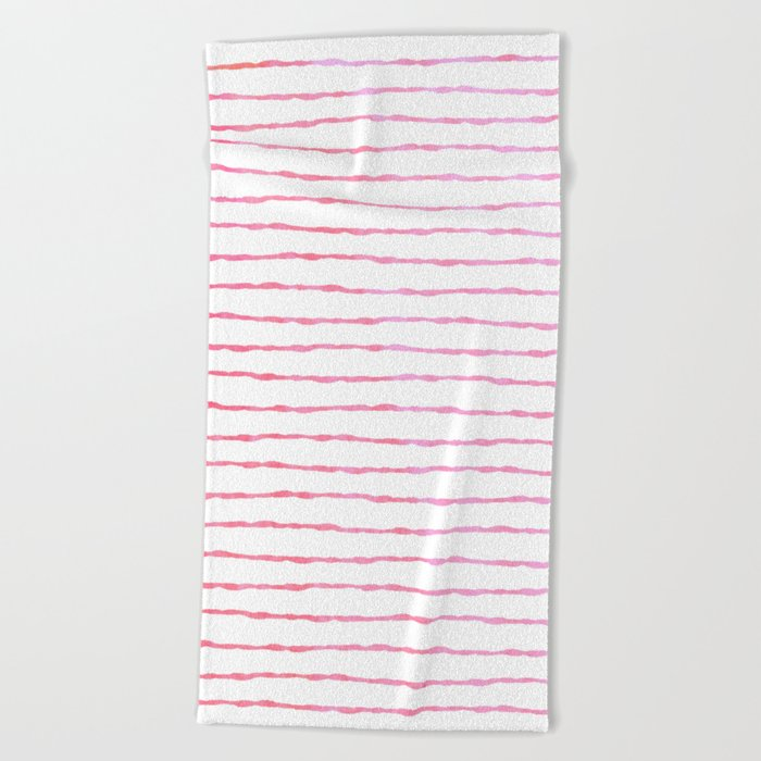 fine pink handpainted stripes on clear white Beach Towel