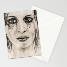Crying girl - Drawing in pencil Stationery Cards