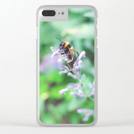 Bee in the Purple Flowers Clear iPhone Case