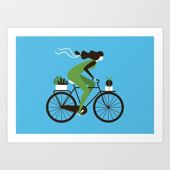 Woman on a Bicycle Art Print