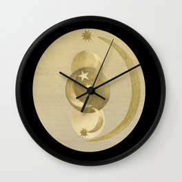 Black Gold Moon and Stars #1 #decor #art #society6 Wall Clock