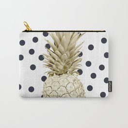 Gold Pineapple on Black and White Polka Dots Carry-All Pouch