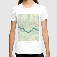 seoul T-shirts featuring Seoul Map Blue Vintage by City Art Posters