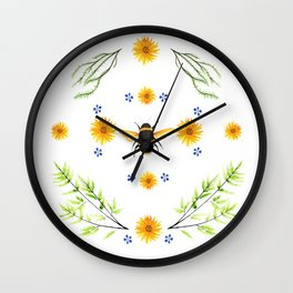 Bees in the Garden v.4 - Watercolor Graphic Wall Clock