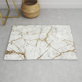 Gold Glitter and White Marble Rug