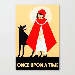 Little Red Riding Hood And The Big Bad Wolf - Classic Fairy Tale Poster Canvas Print
