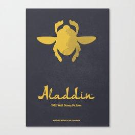 Aladdin, minimal movie poster, 1992 classic animated movie, Robin Williams, princess Jasmine, Jafar Canvas Print