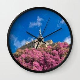 Mont Saint-Michel Abbey - Pink Fantasy Wall Clock