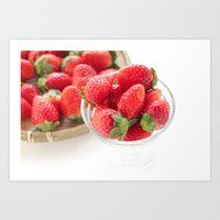 strawberry Art Prints featuring strawberry by yumehana design fine art photography