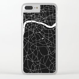 London Black on White Street Map Clear iPhone Case
