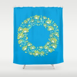 Floral Type - Letter O - Blue Shower Curtain