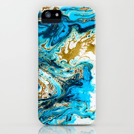 Abstract blue marbled paper iPhone Case