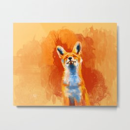 Happy Fox on an orange background Metal Print