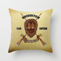 quidditch Throw Pillows featuring Gryffindor Quidditch Team Captain by JanaProject