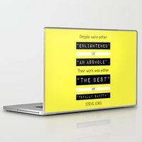 steve jobs Laptop & iPad Skins featuring STEVE JOBS QUOTE by BONB