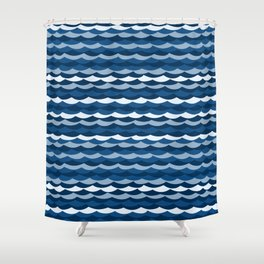 Classic Blue Wave Pattern Shower Curtain