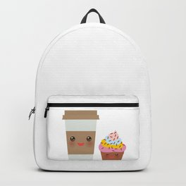 coffee in Paper thermo cup with brown cap and cup holder, chocolate cupcake. Kawaii Backpack