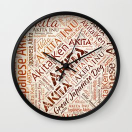 Akita dog Word Art Wall Clock