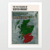 The Five Regions of Scotch Whisky (woodpress) Art Print