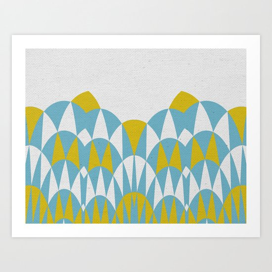 Modern Day Arches Blue and Yellow Art Print