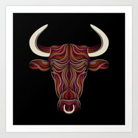 bull Art Prints featuring BULL by Patrick Seymour