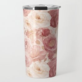 seamless   pattern with roses and leaves . Endless texture Travel Mug