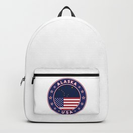 Alaska, Alaska t-shirt, Alaska sticker, circle, Alaska flag, white bg Backpack