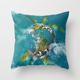 Earth Turtle Throw Pillow