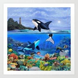 THE ORCA FAMILY Art Print