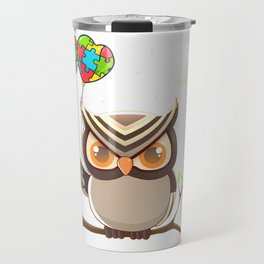 Cute Cartoon Night Owl Autism Awareness T Shirt Travel Mug