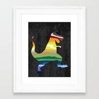 trex Framed Art Prints featuring Rainbow Trex by Precious Beast