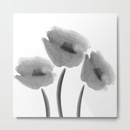 Black White Flowers Watercolor Metal Print