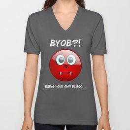 Funny BYOB Bring Your OWN Blood Sad Vampire Smiley Emoji Unisex V-Neck