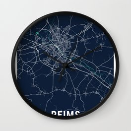 Reims Blue Dark Color City Map Wall Clock