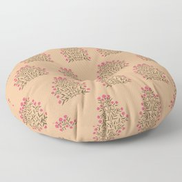 Indian Flower Motif Pattern - Pink & Burnt Coral Floor Pillow