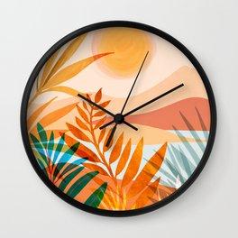 Golden Greek Garden / Sunset Landscape Wall Clock