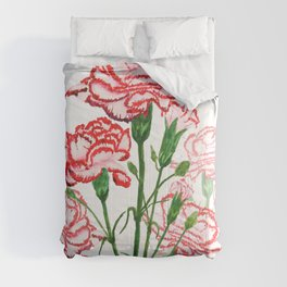 pink and red carnation watercolor painting Comforters