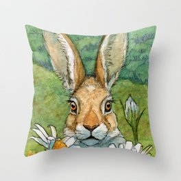 Funny bunnies - with Chamomiles 889 Throw Pillow