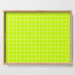 Volt - green color - White Lines Grid Pattern Serving Tray