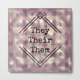 They/Them Pronouns Red Tint Metal Print