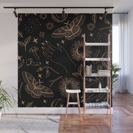 Hand drawn abstract flat graphic icon illustration sketch seamless esoteric pattern Wall Mural