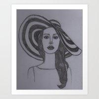 lana del rey Art Prints featuring Del Rey  by WonderlandArt