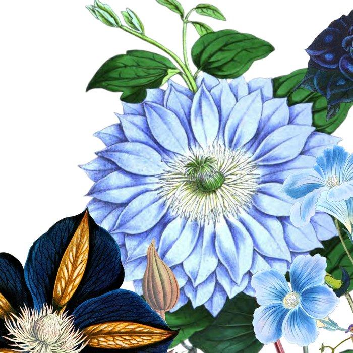 Vintage & Shabby Chic - Blue Flower Summer Meadow Leggings