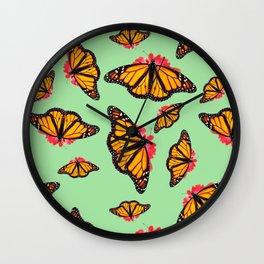 Orange Monarch Butterfly Pattern Wall Clock