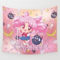 chibi Wall Tapestries featuring Chibi Chibiusa by Neo Crystal Tokyo