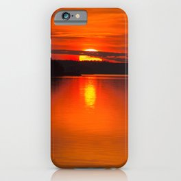 Autumn Sunset Orange Sky Lakescape #decor #society6 #buyart iPhone Case