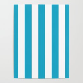 Pacific blue - solid color - white vertical lines pattern Poster