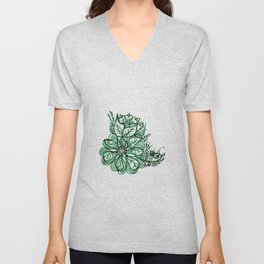 32. Artistic Green Henna Flower with Mehndi Unisex V-Neck