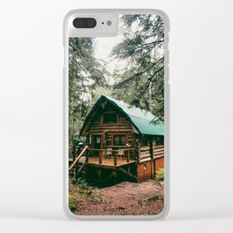 Log Cabin in the Woods Clear iPhone Case